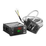 Регулятор температуры и влажности для инкубаторов, 77x35 (2 входа для датчика Pronem Mini: влажность (0…100%), температура (-20…80С) ; 4 выхода: 1 выход реле (НО+НЗ, 5А), 3 выхода реле (НО, 3А), питание 230 VAC, кл. 1, датчик Pronem Mini в комплекте)