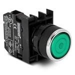 Кнопка с фиксацией зеленая B100FY