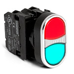Кнопка сдвоенная красно-зеленая 1НО+ 1НЗ