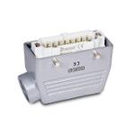 Ответная часть к разъему EBM16PM44, монтаж на кабель (16 выводов, папа, боковой ввод PG21, металл, 16А)