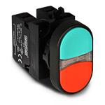 Кнопка сдвоенная красно-зеленая 1НО+1НЗ IP65