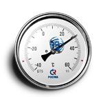 Термометр биметаллический (осевой) БТ-51.х11-100/  64мм, d=100 мм, с гильзой 64мм, (-40..+60)С, G1/2, кл 1,5