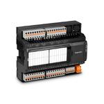 Modbus-модуль ввода/вывода; 8вх.(PNP/NPN/актив.)/8вых.(6 реле 5А, 2 оптореле 200мА); 8 аналог.вх.(универс., 12бит)/2 аналог.вых.(0..10В); COM1(RS-485, ModbusRTU); COM2(RS-485, ModbusRTU, сист.шина MRBus II); порт расш.MRL; конфигурация по USB; =/~24В
